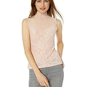 GUESS Women's Mansfield Mock-Neck Lace Top Shirt |